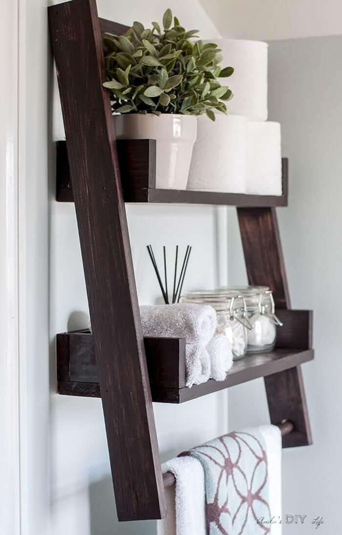 Above the Toilet Wooden Ladder Shelf