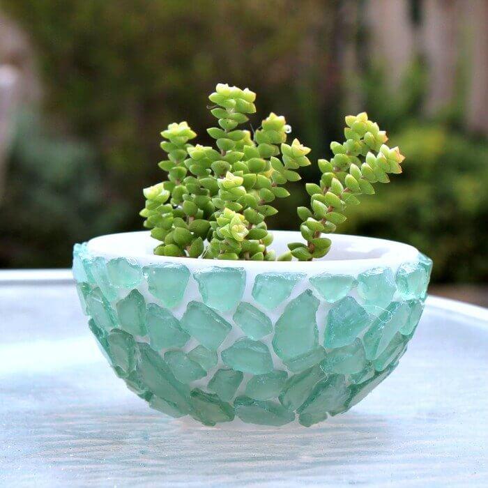Mini Sea Glass Succulent Planter
