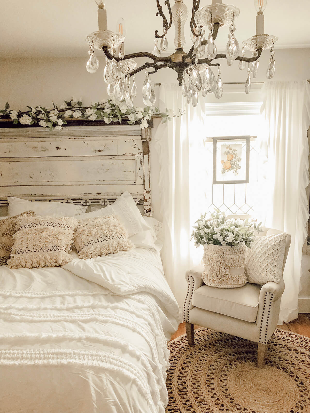 Flowers, Textures, and Sparkle Equal Gorgeous Bedroom