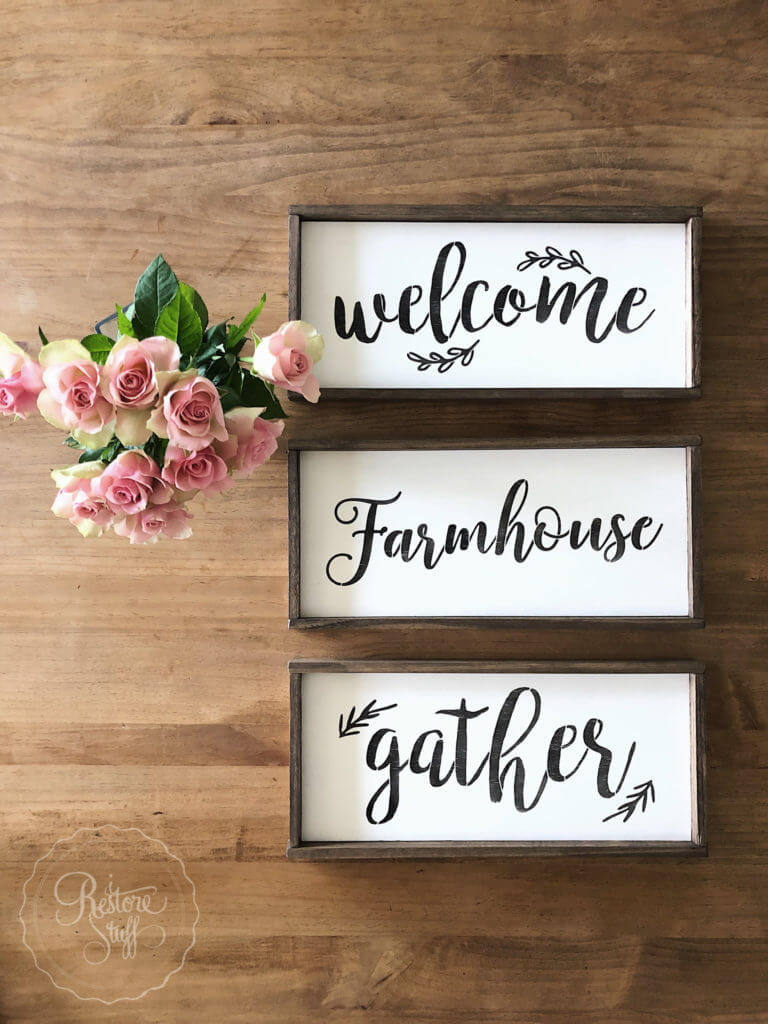 Trio of Hand-Painted Wooden Farmhouse Signs