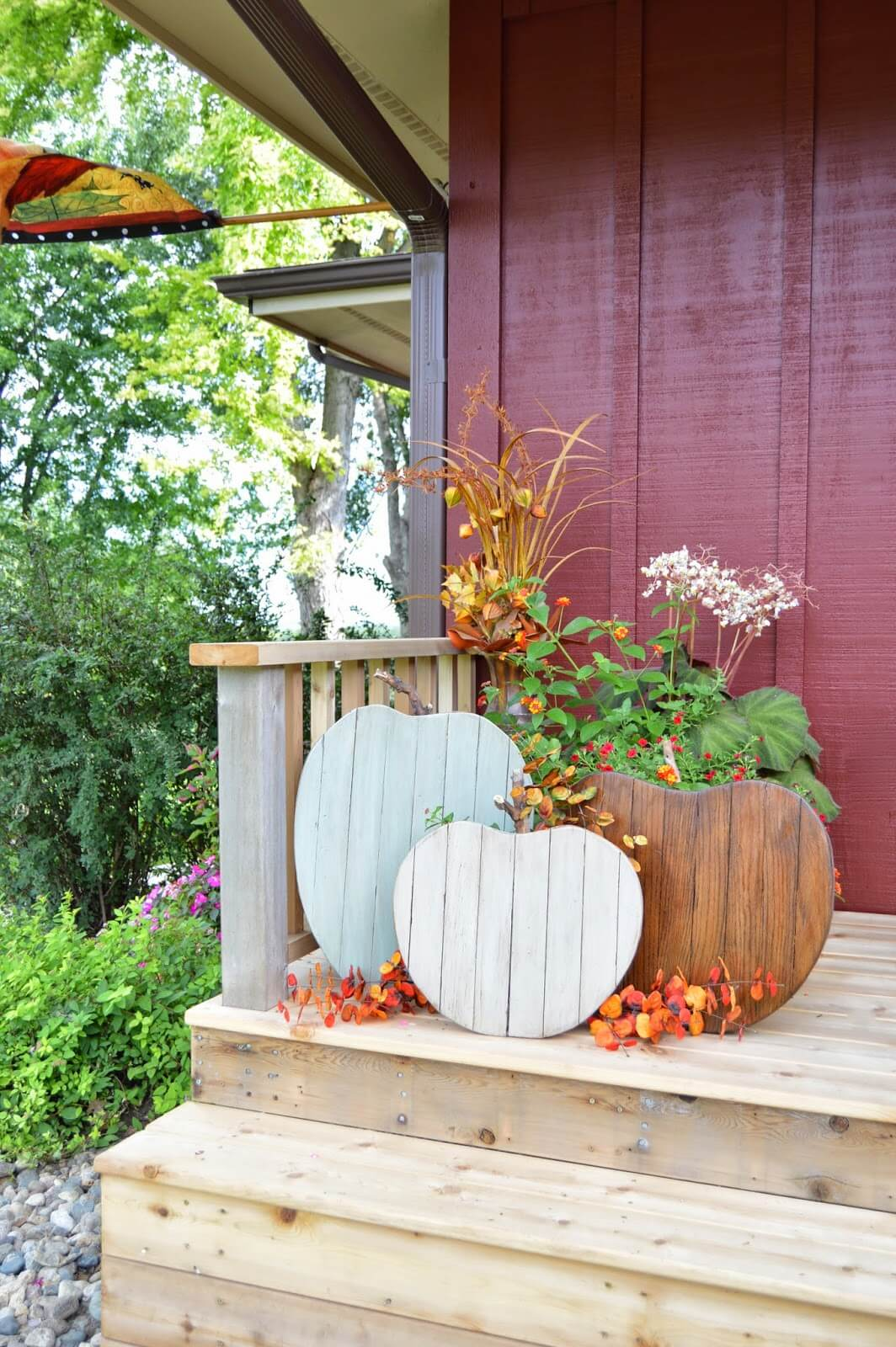 Wooden Pumpkin Shaped Planters Perfect for Fall