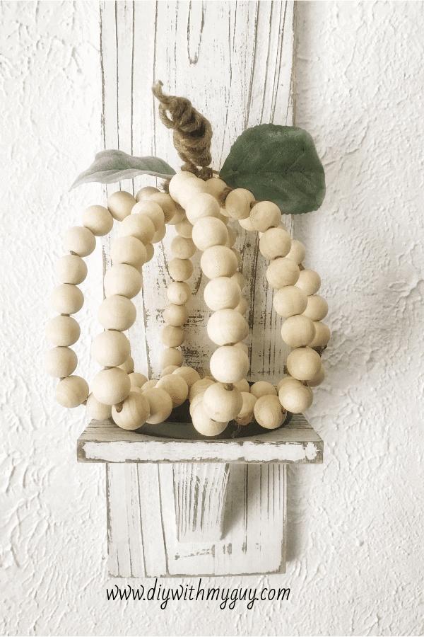 Wood Bead Farmhouse-Style Pumpkin Decor