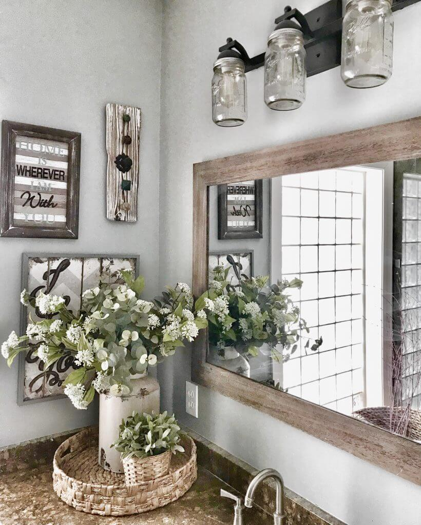 Mason Jar Lights and Rustic Wooden Features