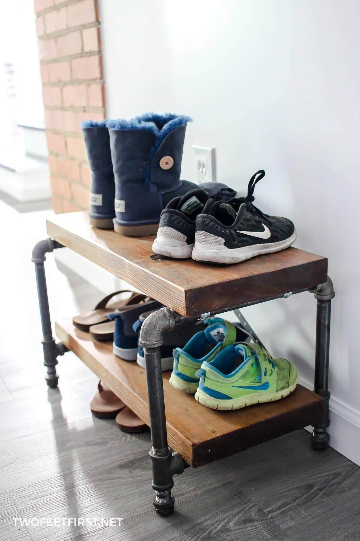 Small Industrial Wooden Shoe Shelf