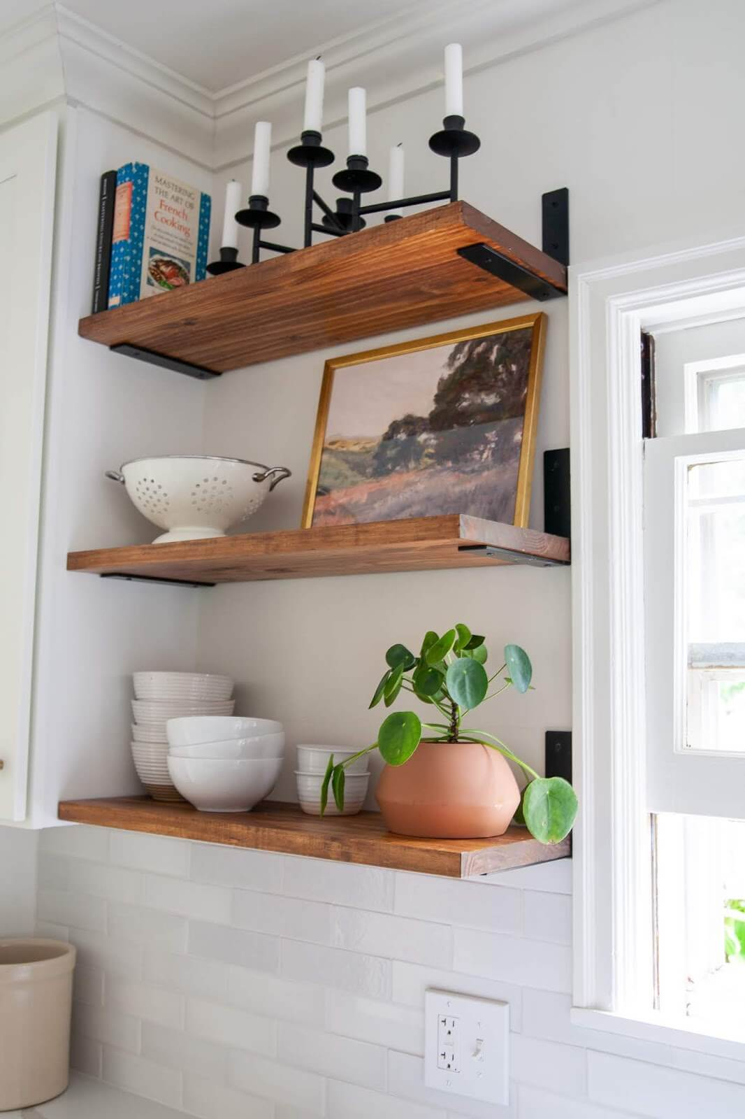 Simple and Traditional Wood Floating Kitchen Shelves