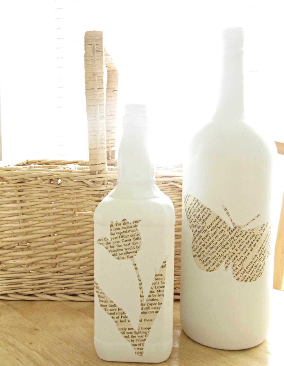 Upcycled Book Page Bottle Décor