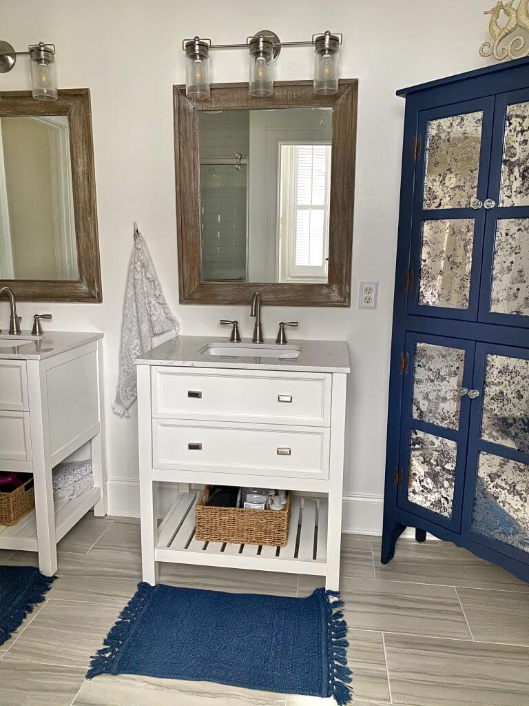 Rustic, Metal, and Blue Bathroom Decor