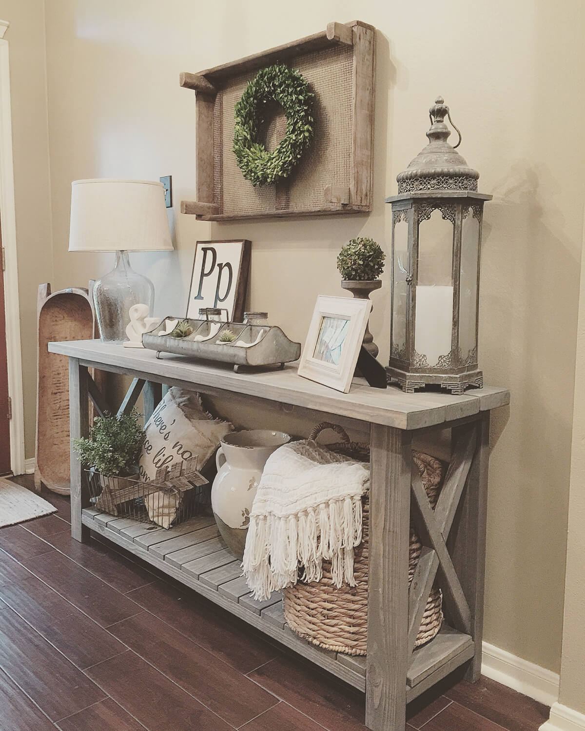Mixed Media Side Table Entryway Decorating