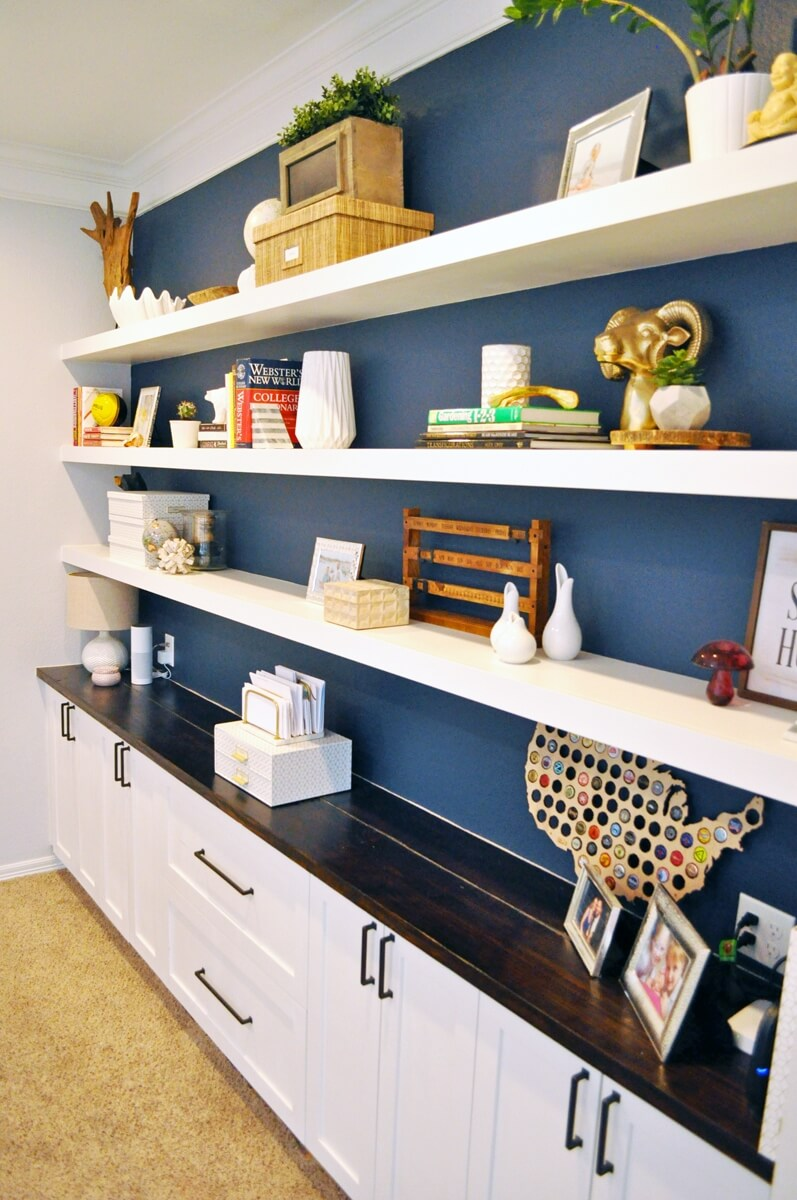 Long and Lean Home Office Floating Shelves