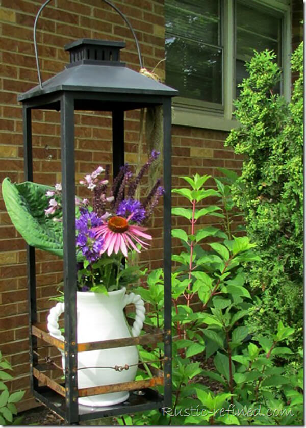 Large Metal Lantern Flower Vase Holder