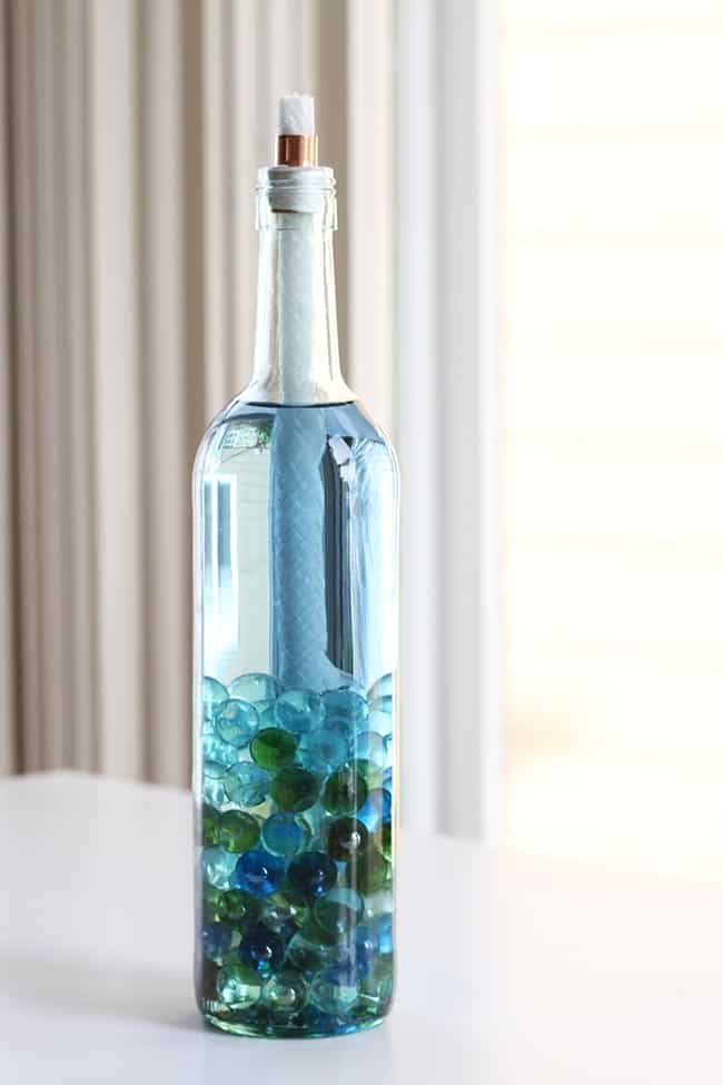 Marble Filled Beautiful Glass Bottle Torch