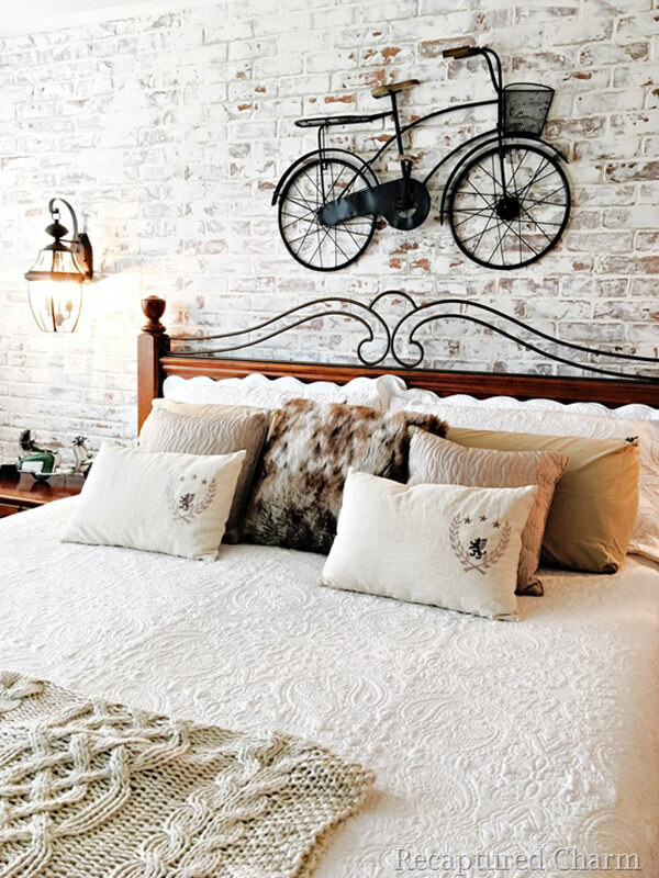 Bicycle and Brick Wall Farmhouse Bedroom