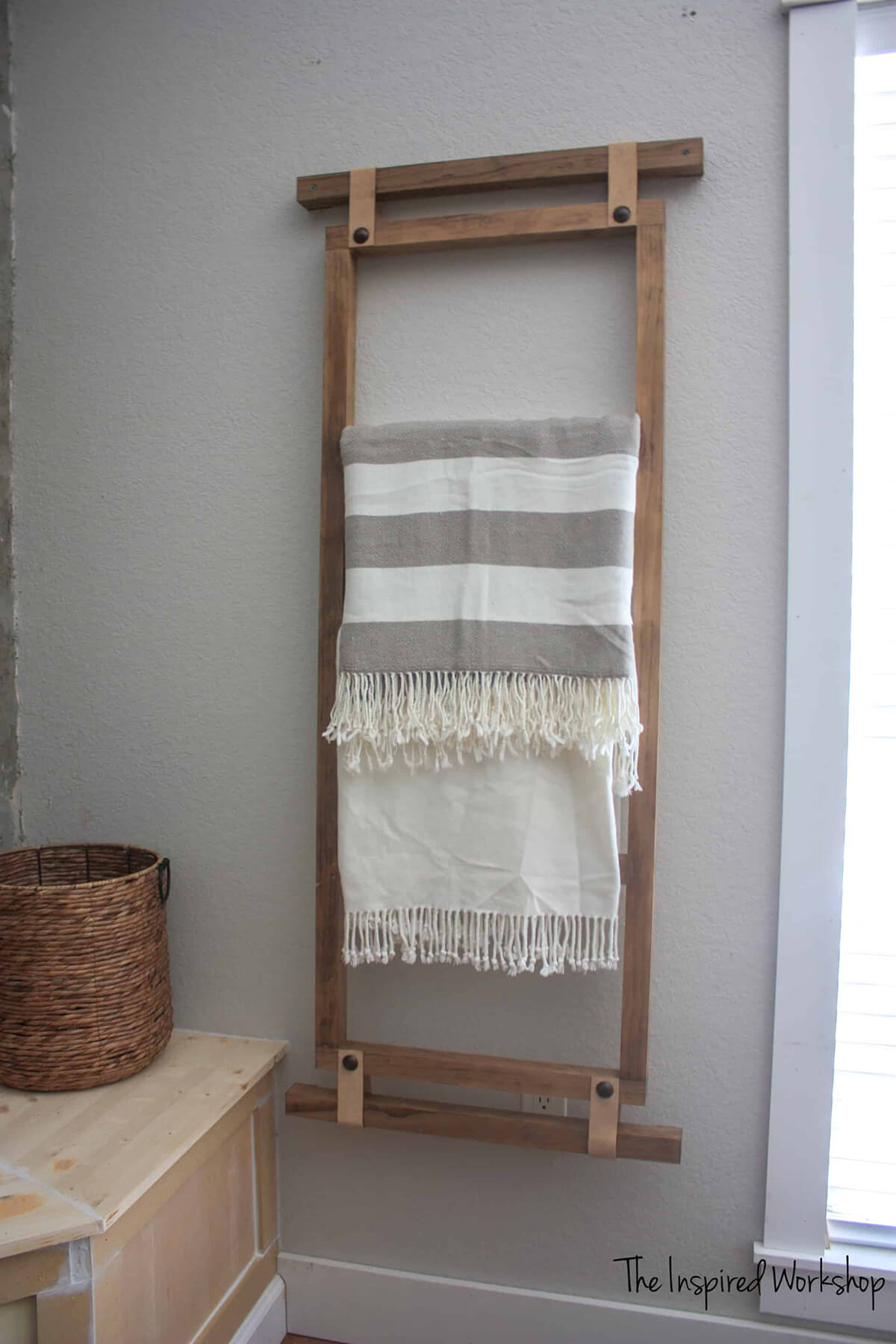 Wooden Wall Hanging Blanket Ladder