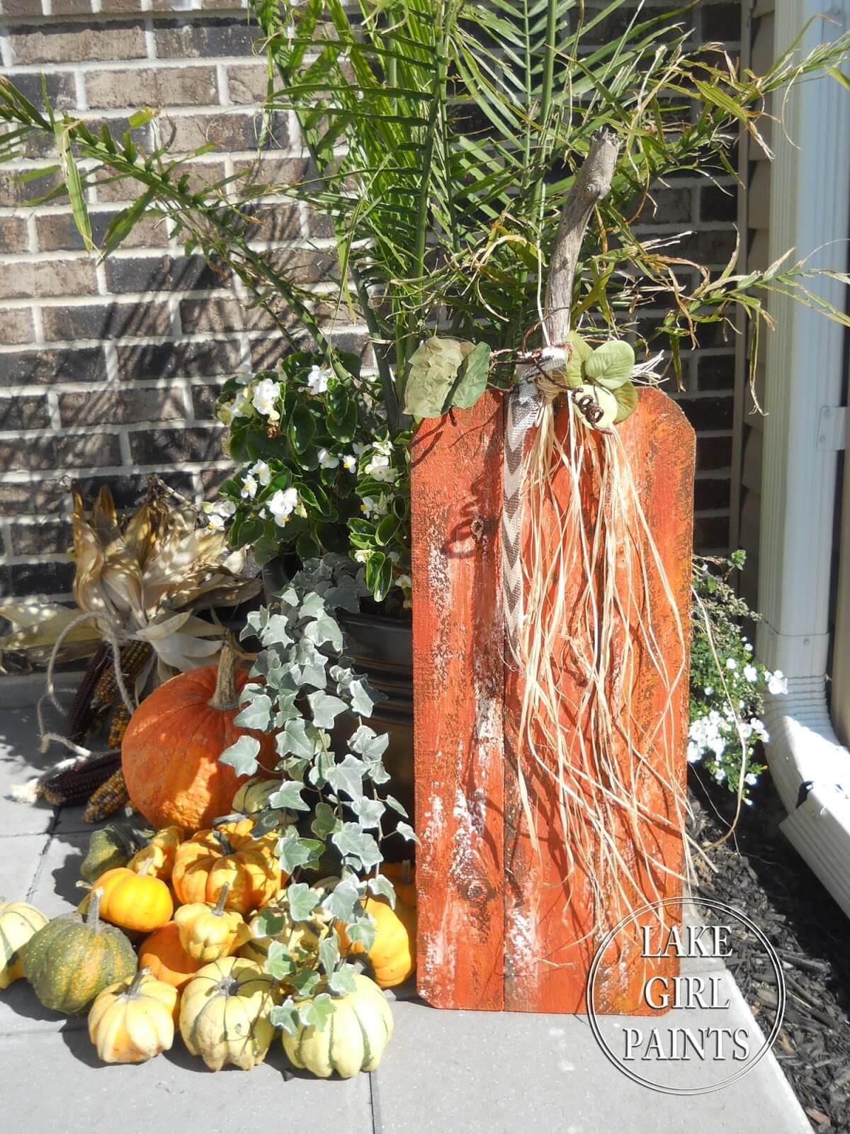 Rustic Autumn Wood Plank Pumpkins