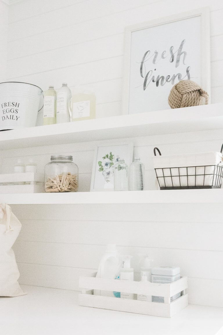 Solid White Wooden Floating Shelf