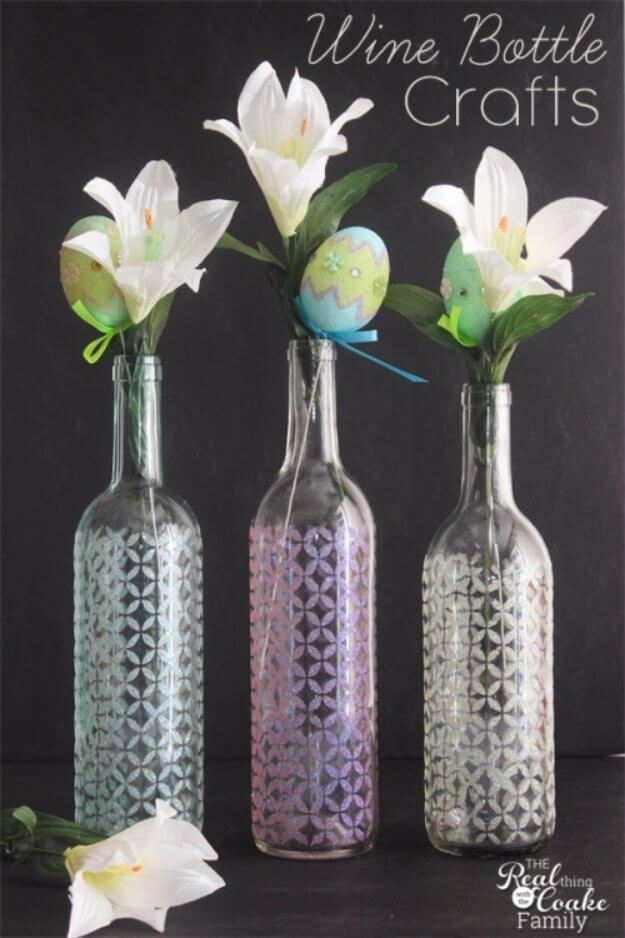 Gorgeous Etched Glass Bottle DIY Vase