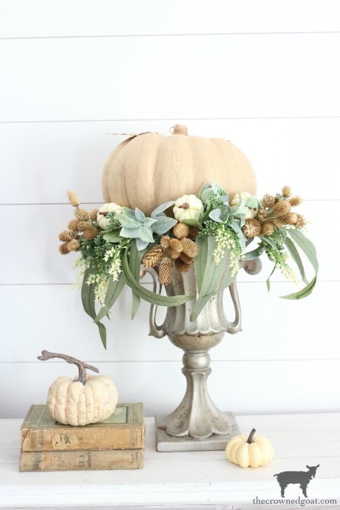 Spectacular Urn Filled Pumpkin and Floral Bouquet