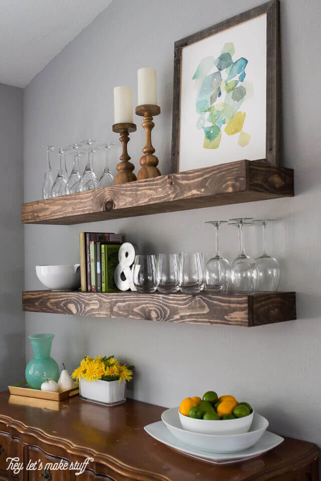 Stained Wooden Block Floating Shelves