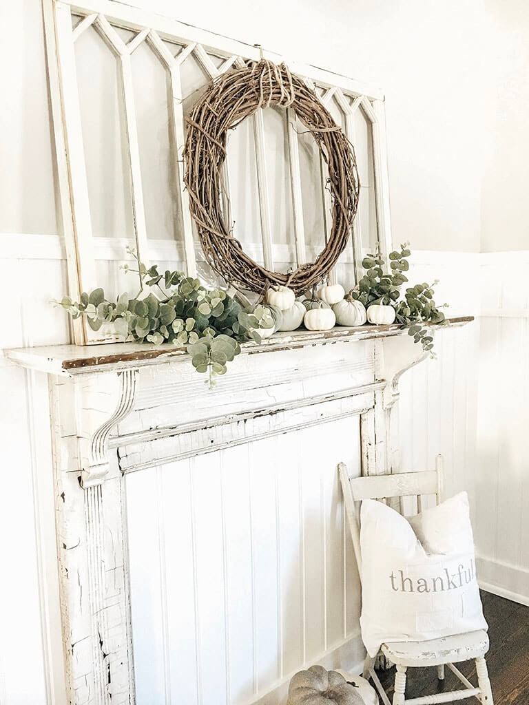 Decorative and Distressed White Faux Fireplace