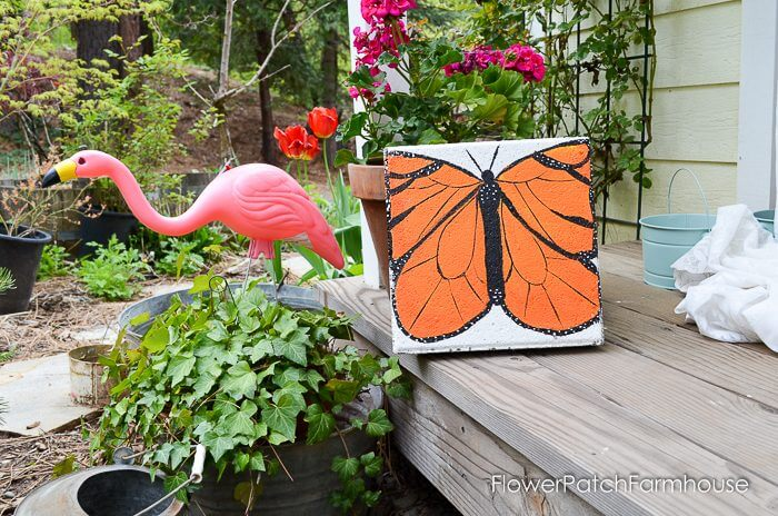 Monarch Butterfly Painted Concrete Stepping Stone