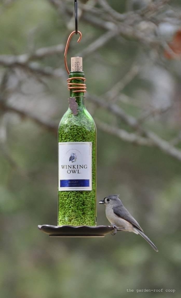 Wonderful Wine Bottle Bird Feeder