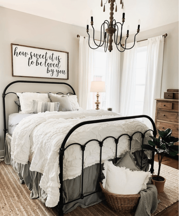 Modern Farmhouse Gray and Black Metal Bed