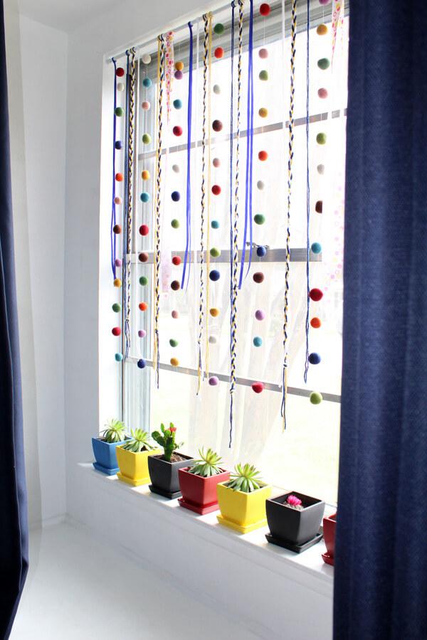 Charming Yarn and Felt Curtain Accents