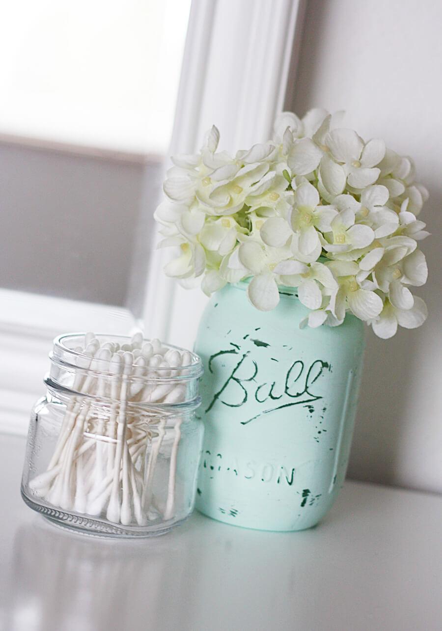 Shabby Chic DIY Painted Glass Jar