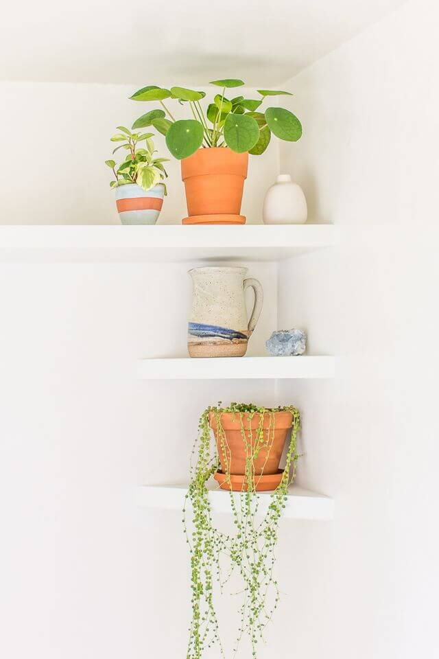 Crisp and Clean White Corner Floating Shelves