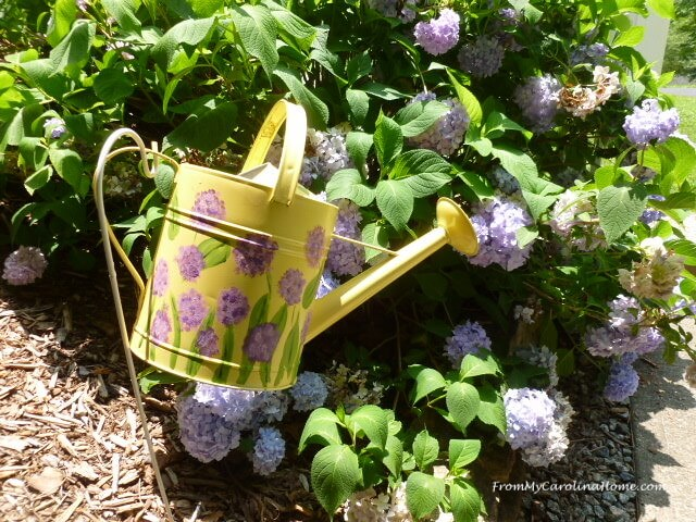 Hand Painted Watering Can Garden Decoration
