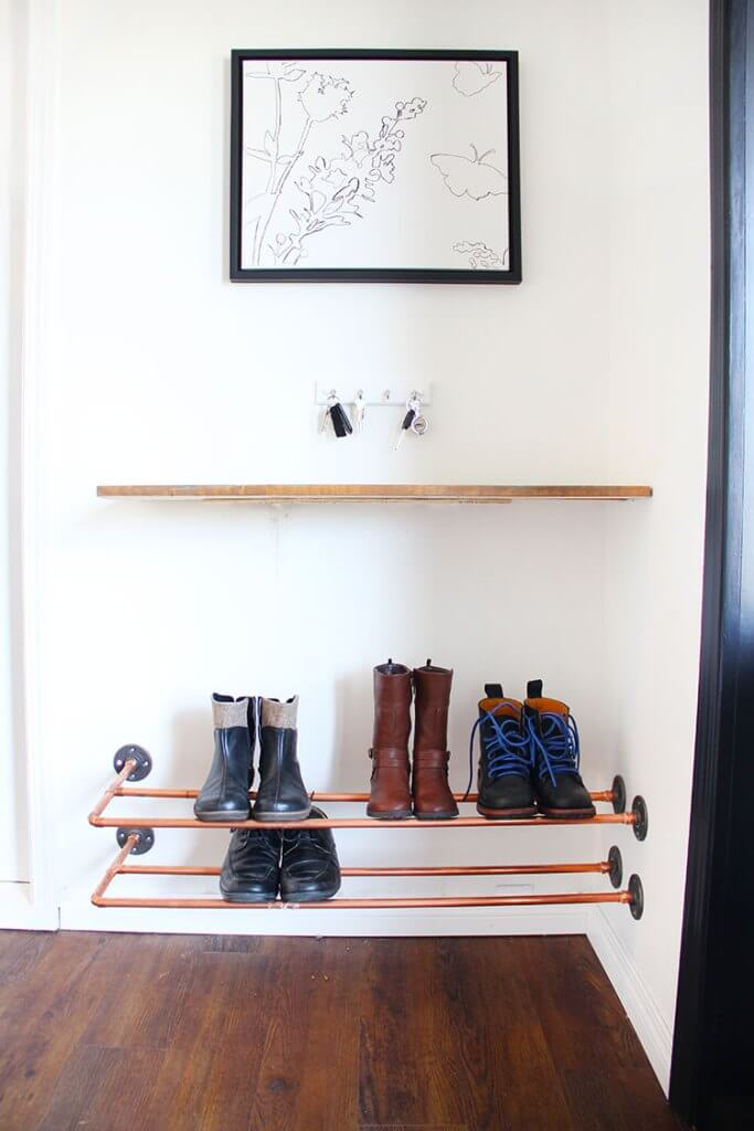 Cool Copper Piping Mounted Shoe Rack