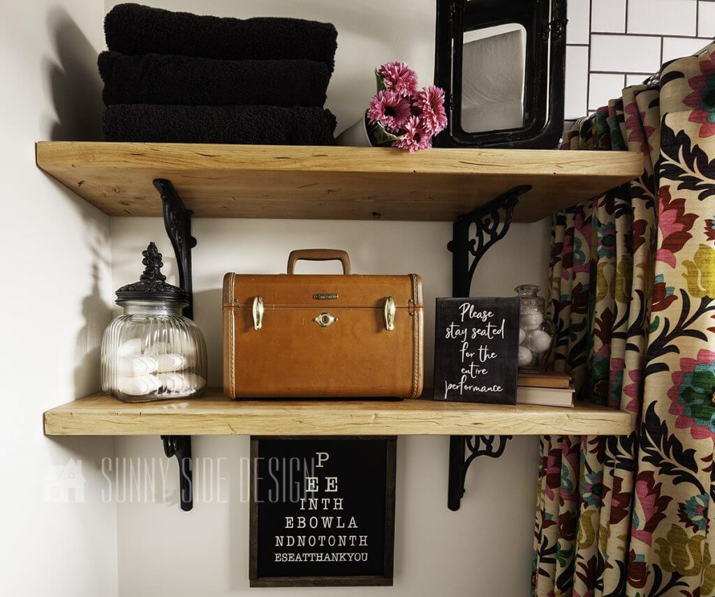 Black Wrought Iron and Wood Wall Shelves