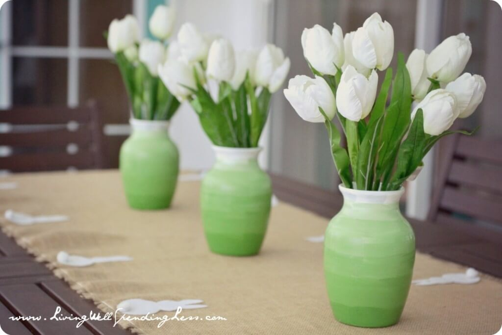 Awesome Ombre Green to White Vase