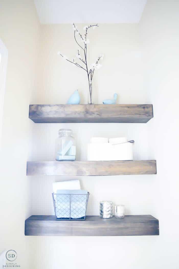 Sleek Brown Wooden Floating Shelves