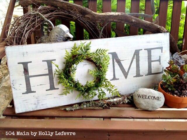 Welcome Home Wooden Sign with Greenery Wreath