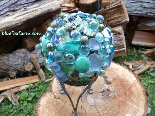Encrusted Garden Sea Glass Decoration