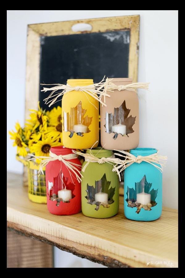 Leaf Stencil Mason Jar Candle Holders
