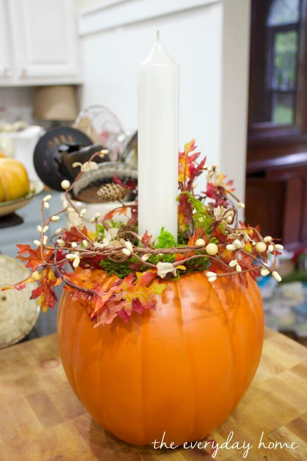 Fall Leaves and Candle Stuffed Pumpkin