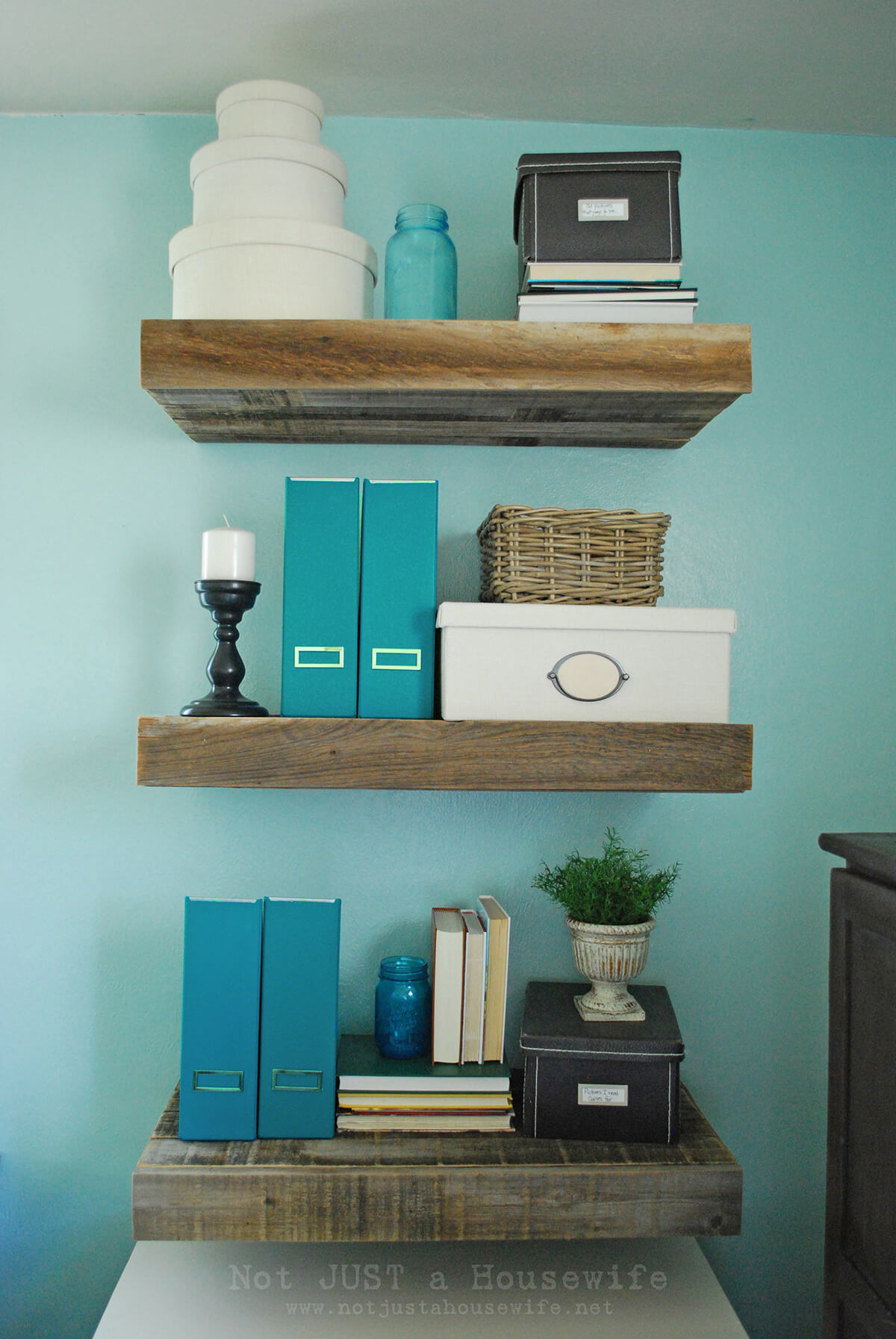 Squared and Straight Rugged Wood Floating Shelves