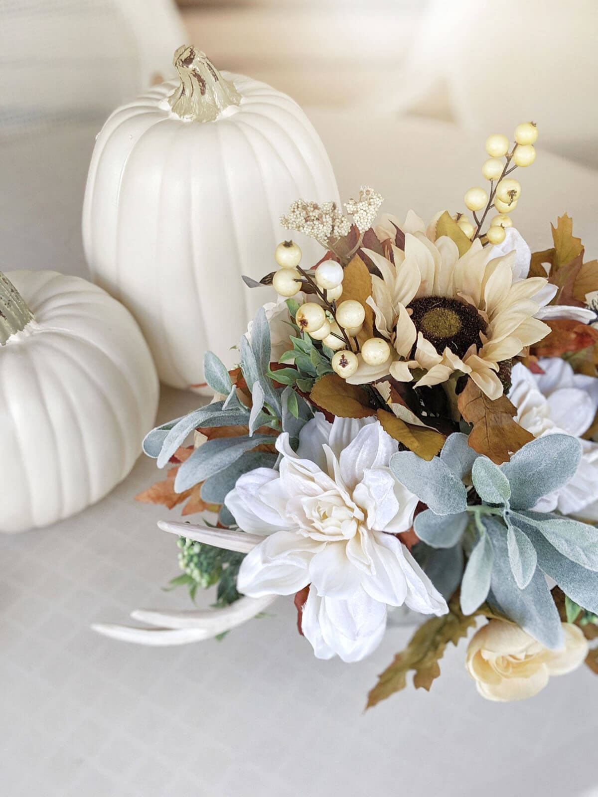 Fall Bouquet Bursting with White Antler Mix