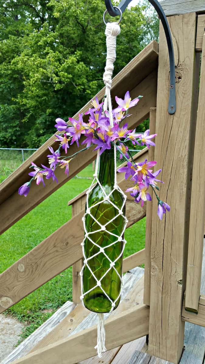 Hanging Macramé Wine Bottle Planter