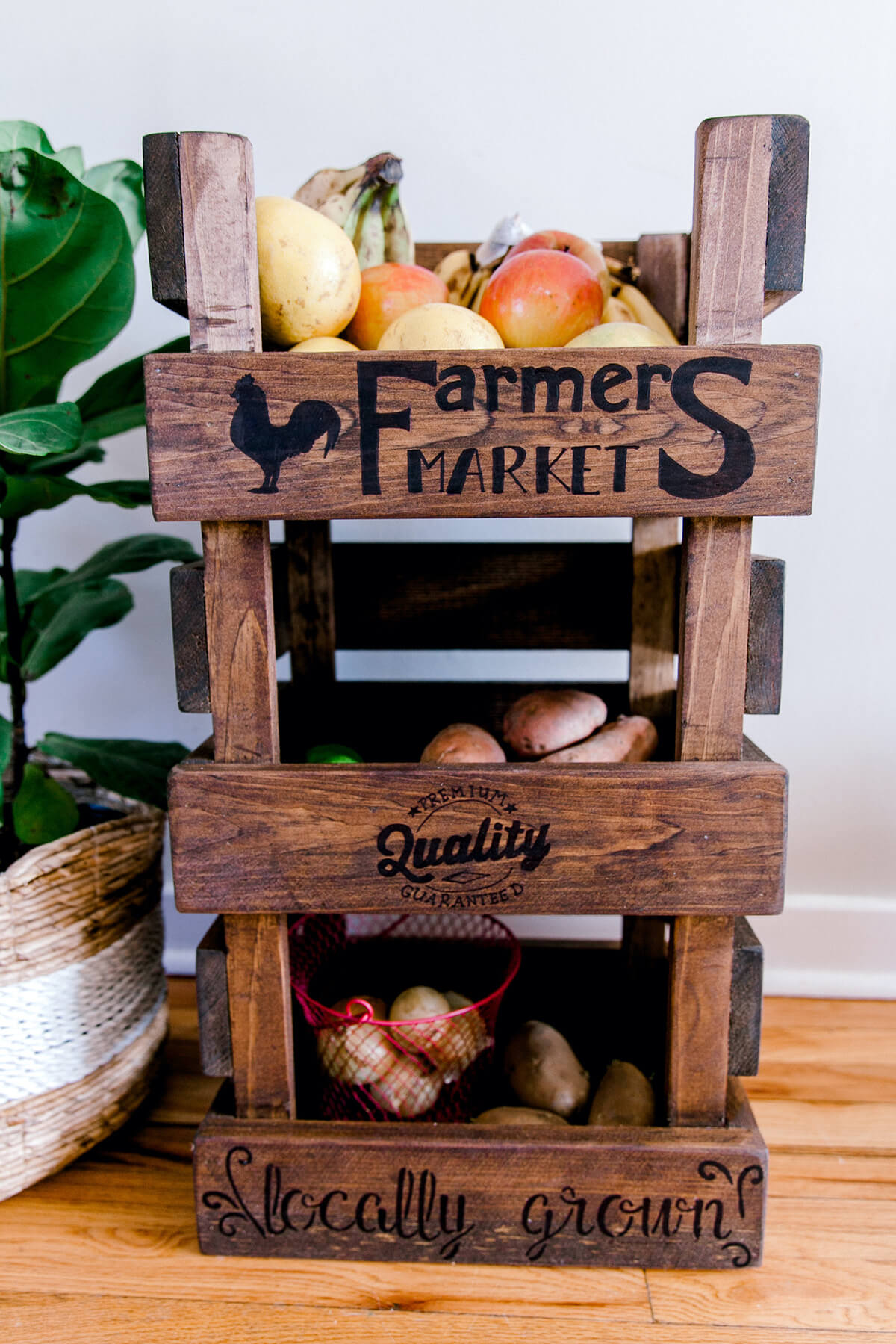 Standing Wooden Produce Storage Rack