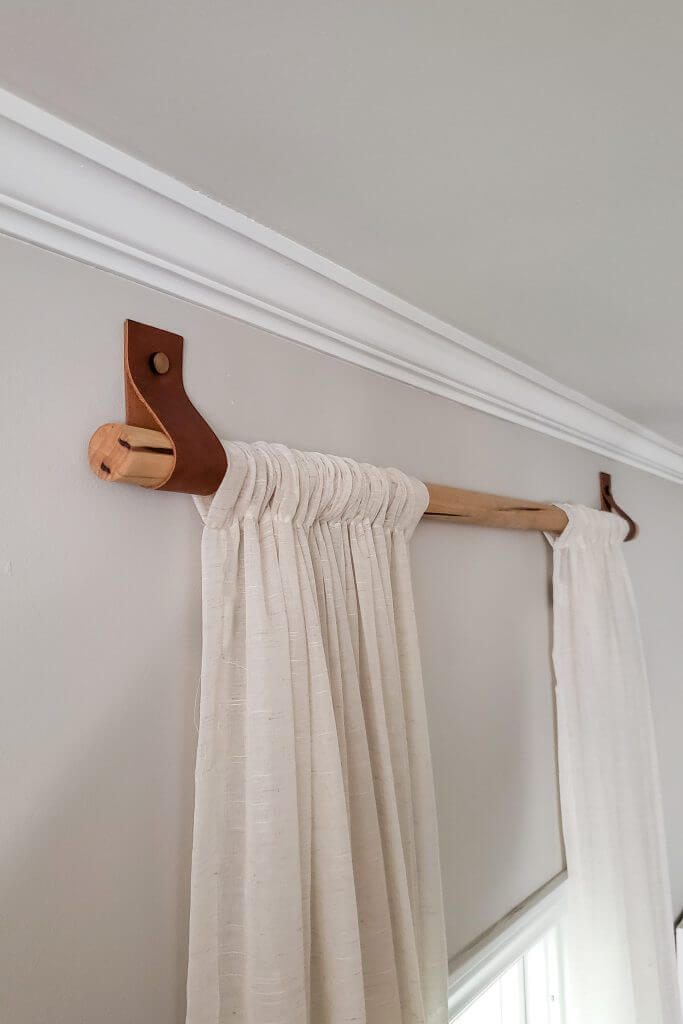Leather Strapped Wooden Curtain Rods