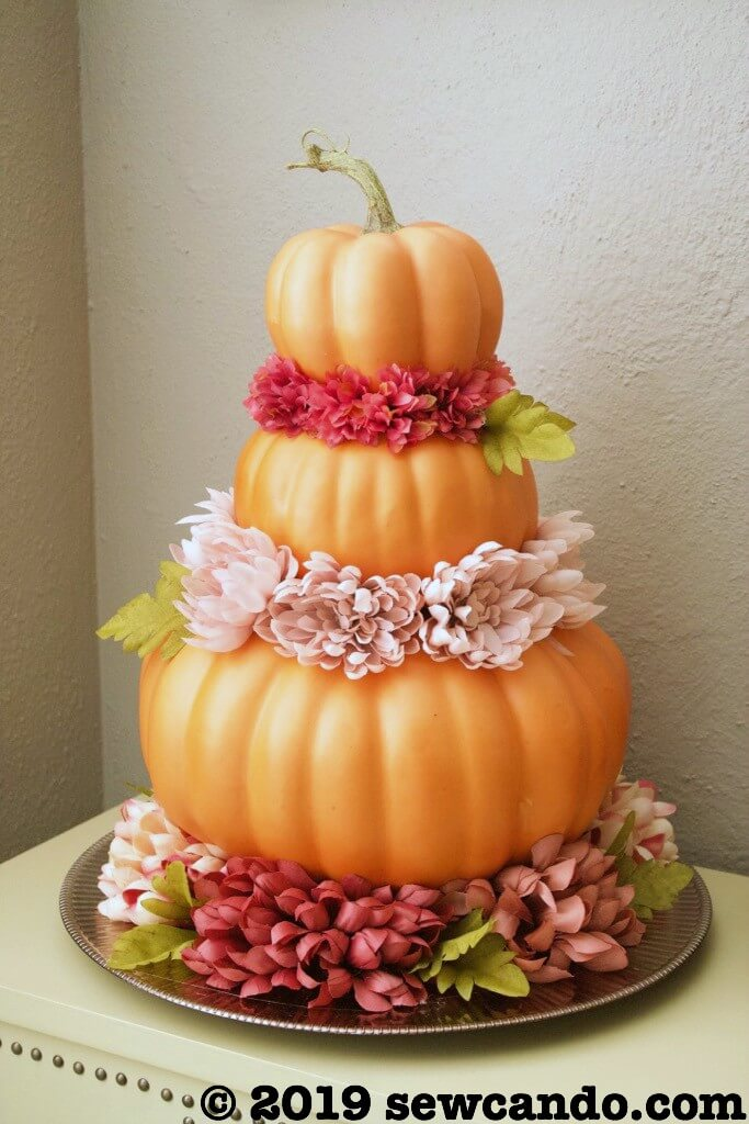 Three-Tiered Pumpkin and Flower Display