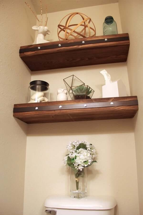Rustic Floating Shelf with Leather Studded Accent