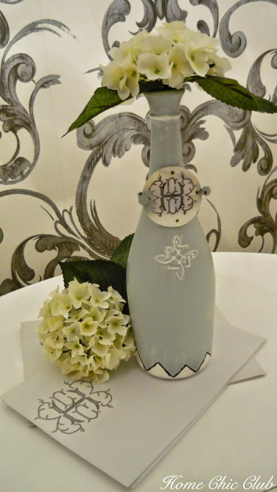 Elegant and Hand-Painted Wine Bottle Vase