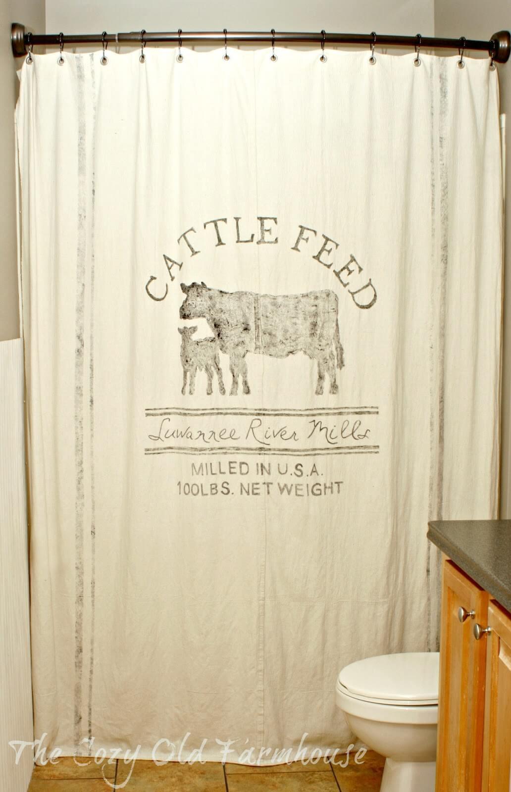 Farm Friendly Feed Sack Shower Curtain
