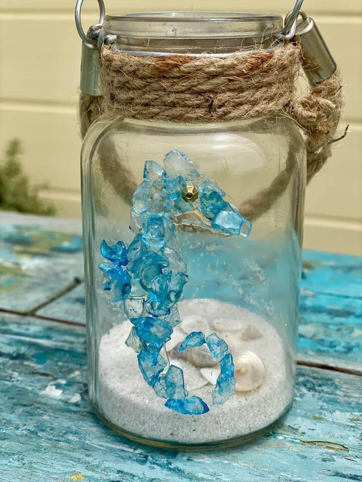 Adorable Sea Glass Seahorse on a Jar