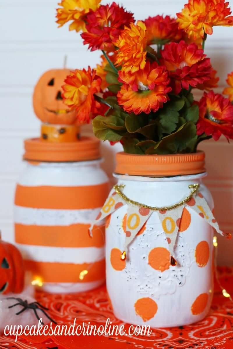 Painted Mason Jar Fall Decorations