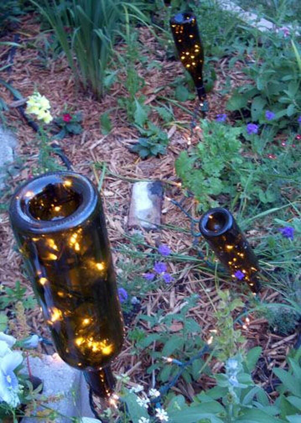 Modern Repurposed Wine Bottle Outdoor Sidewalk Lights